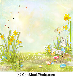 Easter card - Easter collage with space for text with...