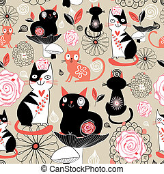 Floral pattern with cats - Seamless floral graphic pattern...