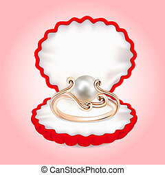 ring with pearls in the red box