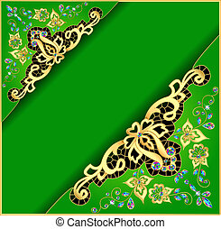 green background with gold ornament and precious stones
