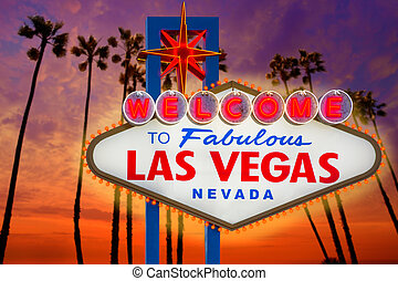 Welcome Fabulous Las Vegas sign sunset palm trees Nevada -...