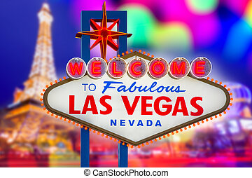 Welcome to Fabulous Las Vegas sign sunset with Strip...