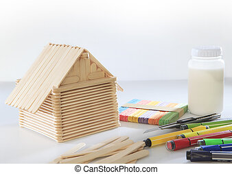 home made from popsicle wood on white background use for...
