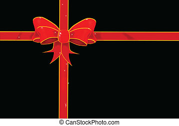 Wrapping Paper - A parcel with red and gold ribbon isolated...
