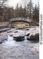 Kislovodsk. Cityscape - Bridge across the river Olhovka in...