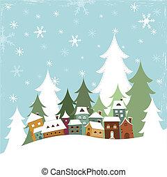 Winter Village - Illustration of a village in winter.
