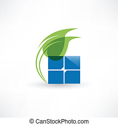 Abstract eco leaf icon