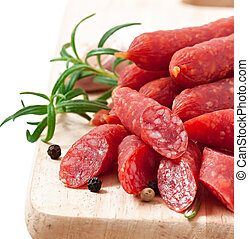 Smoked sausage with rosemary, peppercorns and garlic