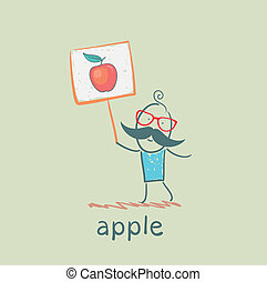 a man with a sign painted apple