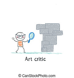 Art critic looks at the work of art through a magnifying...