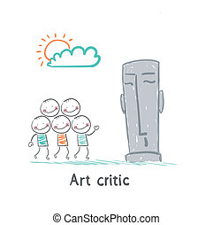 Art critic looks at the sculpture