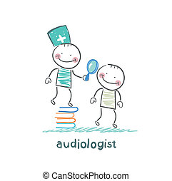 otolaryngologist stands on a pile of books and looking...