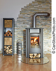 burning stove - burning wood fired stove with fire-irons and...