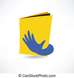 hand on the book icon