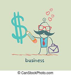 Businessman draws a pencil Dollar