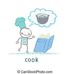 cook reads soup recipe