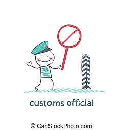 customs officer holding a stop sign