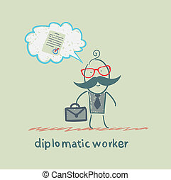diplomatic worker thinks about the document
