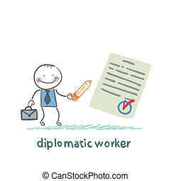 diplomatic worker writes the document