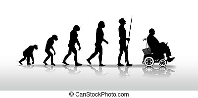 evolution - human evolution ending with person in wheelchair