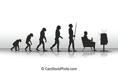 evolution - human evolution ending with sitting in front of...