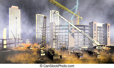 Rainfall on construction site - Construction site during...