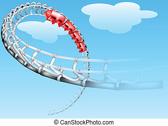 roller-coaster on a blue sky. 10 EPS