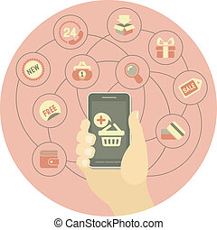 Online Shopping Concept by a Phone