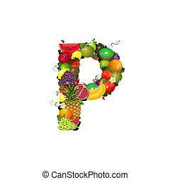 信, 多汁, 水果, P