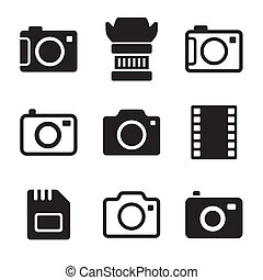 Photo Camera and Accessories Icons Set on White Background