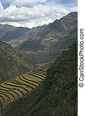 Pisac, Peru - Terracing for agriculture in Pisac, Peru