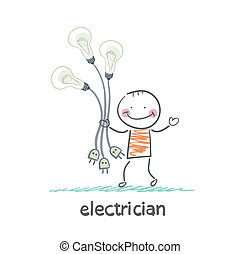 electrician holding a light bulb with forks in their hands