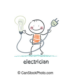 electrician holding a light bulb