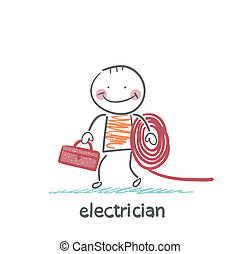 electrician holding cable and toolbox