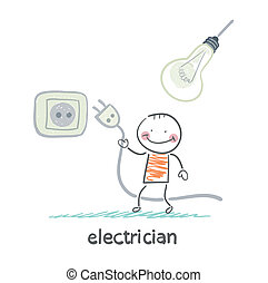 electrician insert the plug into the socket and thinking about bulb