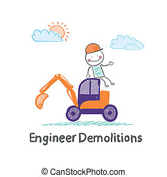 Engineer Demolitions sits on the excavator