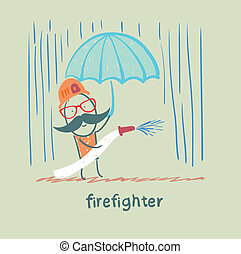 firefighter stands in the rain with an umbrella