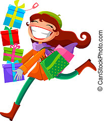 woman with presents - young woman carrying shopping bags and...