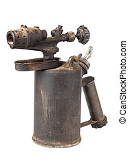 Blowtorch - Vintage old blowtorch isolated on white...