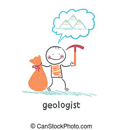 Geologist holding a hammer and a bag and thinks about...
