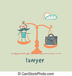 lawyer is on the scales with a suitcase