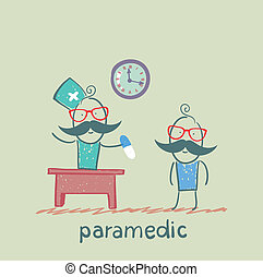 paramedic tablet gives a patient