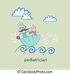 pediatrician with baby sitting in an umbrella and floats on the waves
