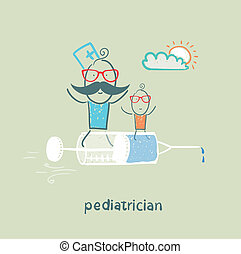 pediatrician is flying on a syringe with a sick child