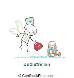 pediatra, moscas, enfermo, niño