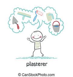 plasterer thinks about his instruments for