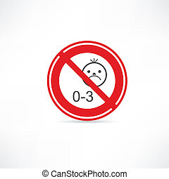 prohibited from using children under three years icon