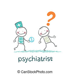 psychiatrist gives the patient a pill crazy