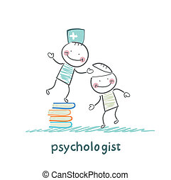 psychologist is on a stack of books and gives the patient a...