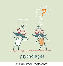 Psychologist talking to a patient who thinks of a question mark